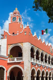 Merida City Hall. City hall in Merida, Mexico with the Mexican flag flying above it stock images