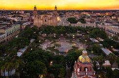 Merida in the evening. Merida, Mexico central city square taken with drone Royalty Free Stock Image