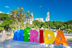 Merida, Mexico. Colorful letters. royalty free stock images