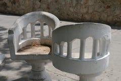Merida Mexico Yucatan architecture history street chairs. White Royalty Free Stock Photo