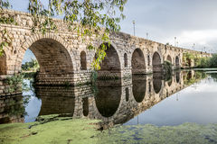 Merida Roman bridge in Spain.  Royalty Free Stock Photos