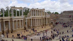 Merida, Spain. April 2019: Antique Roman Theatre in Merida, Spain. stock video