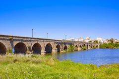 Merida in Spain entrance roman bridge Stock Images
