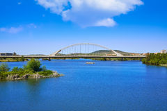 Merida in Spain Lusitania bridge over Guadiana. River in Extremadura Royalty Free Stock Photo