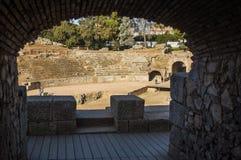 Arch of the Roman Amphitheater of Merida stock photos