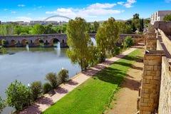 Merida in Spain roman bridge over Guadiana Stock Photos