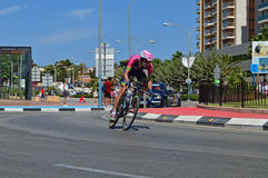 Merida Time trial Rider. A Team Lampre Merida rider speeds through the roundabout during the TT stage during La Vuelta España 2016 Royalty Free Stock Photos