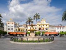Merida Town Centre Extremadura Spain. Plaza de Espana in the center of the historic town of Merida. Extremadura, Spain Stock Photography