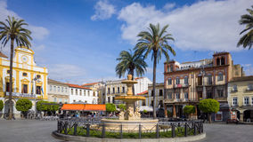 Merida Town Centre Extremadura Spain. Wide view of the Plaza de Espana in the center of the historic town of Merida. Extremadura, Spain Stock Photo