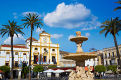 Merida w Hiszpania Plac De Espana kwadracie Badajoz Obraz Stock
