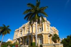 Merida yellow facade Paseo Montejo Yucatan. Merida yellow facade in Paseo Montejo of Yucatan in Mexico Royalty Free Stock Images
