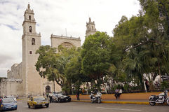 Merida, Yucatan Mexico, January 22, 2015: Central cathedral from the main square in Merida Mexico. Stock Images