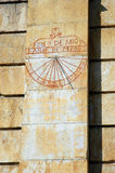 Meridian. Ancient meridian clock in Roses Spain operating with sun Royalty Free Stock Photography