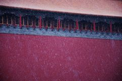 Meridian Gate. Wumen. Red Wall. Traditional Chinese Architecture. Snow. stock photos