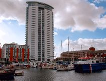 Meridian Quay Tower, Swansea, Wales Stock Photo