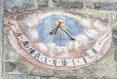 Meridiana,时间日规, Val Badia,白云岩, Sudtirol 图库摄影