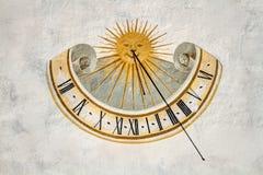 Meridiana, солнечные часы времени, Val Badia, доломиты, Sudtirol Стоковое фото RF
