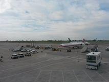 Meridiana and Ryanair aircrafts Stock Photos