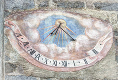 Meridiana, time sundials, Val Badia,Dolomites, Sudtirol Stock Photography
