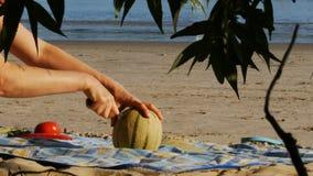 Meriendan en el campo en una playa del río - melón del corte - 4k almacen de video