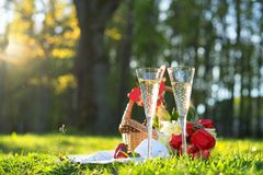 Meriende en el campo con dos vidrios de champán y de fresas imagenes de archivo
