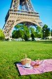 Meriende en el campo con la cesta, el vino y las frutas cerca de la torre Eiffel en Par?s fotografía de archivo libre de regalías
