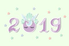 2019 with Merimaid`s Sea Shell Crown and eyes. Vector Illustration 2019 with Merimaid`s Sea Shell Crown and eyes as Happy New Year postcard, party invitation Royalty Free Stock Photo