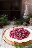 Meringa del mirtillo rosso con formaggio cremoso per la tavola del nuovo anno fotografia stock libera da diritti