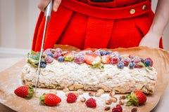 Meringerolle mit Beeren und Pistazien lizenzfreie stockfotos