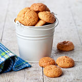 Meringue almond cookies in bucket Stock Photo