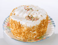 Meringue cake with almonds Royalty Free Stock Photography