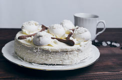 Meringue cake and a cup of coffee Stock Images