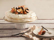 Meringue cake with figs Royalty Free Stock Photo