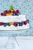Meringue cake with fresh berries. Stock Photography