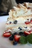 Meringue cake with fresh fruits. Meringue cake with fresh fruits topped with chocolate melt royalty free stock photos