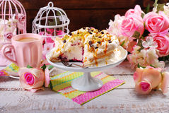 Meringue cake with fresh maracuja and caramel Stock Photography