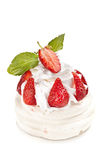 Meringue cake with strawberries and whipped cream Stock Photo
