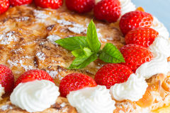 Meringue cake with strawberry yogurt  as Cut Royalty Free Stock Photography