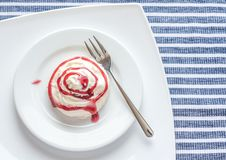 Meringue cake with whipped cream and berry topping Stock Photography