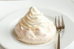 Meringue cake with whipped cream Royalty Free Stock Image