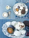 Meringue, chocolate and plum Stock Photo