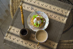 Meringue and coffe turk. from above Royalty Free Stock Photos