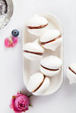 Meringue cookies with chocolate and flowers on white background. Meringue cookies with chocolate and rosebud on white Royalty Free Stock Photos
