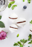 Meringue cookies with chocolate, mint and flowers on white background. Meringue cookies with chocolate, mint and roses on white Stock Photos