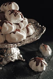 Meringue cookies with chocolate Royalty Free Stock Images
