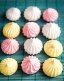 Meringue cookies. Colorful meringue cookies close up Stock Image