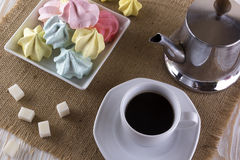 Meringue Cookies and cup of coffee. Royalty Free Stock Image