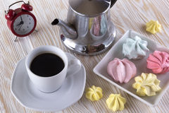 Meringue Cookies and cup of coffee. Stock Image