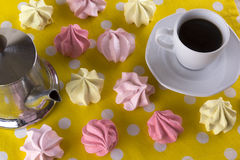 Meringue Cookies and cup of coffee. Stock Photography