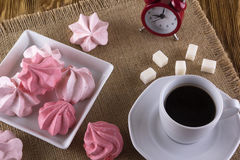 Meringue Cookies and cup of coffee. Royalty Free Stock Photos